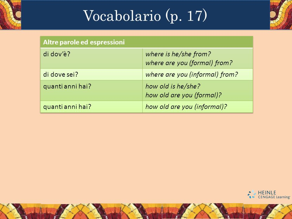 Vocabolario (p. 17) Altre parole ed espressioni di dov'è