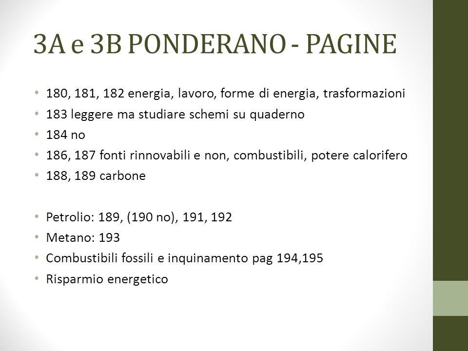 3A e 3B PONDERANO - PAGINE 180, 181, 182 energia, lavoro, forme di energia, trasformazioni. 183 leggere ma studiare schemi su quaderno.