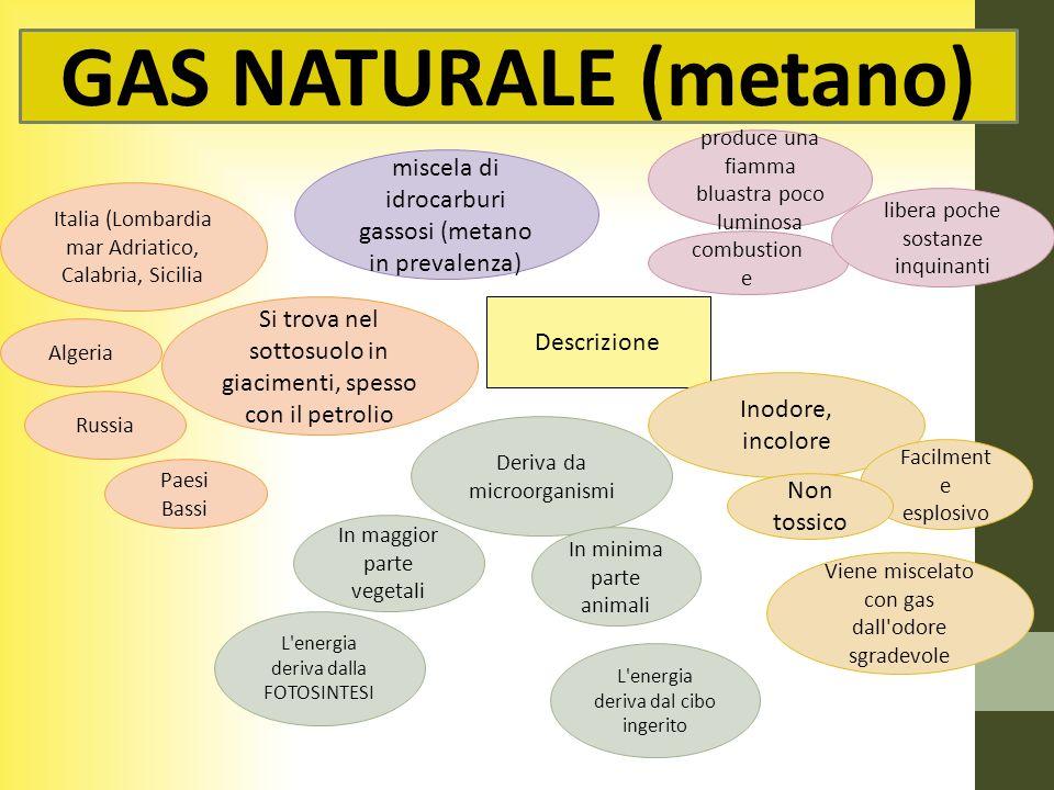 GAS NATURALE (metano) produce una fiamma bluastra poco luminosa. miscela di idrocarburi gassosi (metano in prevalenza)