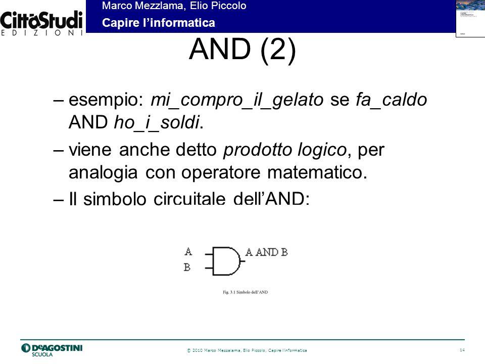AND (2) esempio: mi_compro_il_gelato se fa_caldo AND ho_i_soldi.