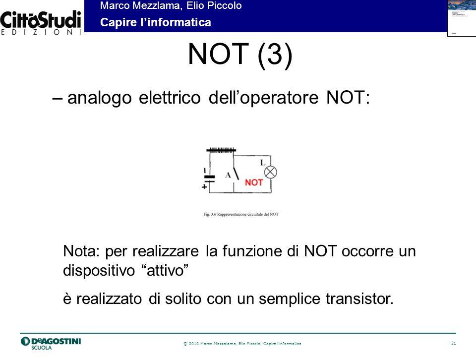 NOT (3) analogo elettrico dell'operatore NOT: