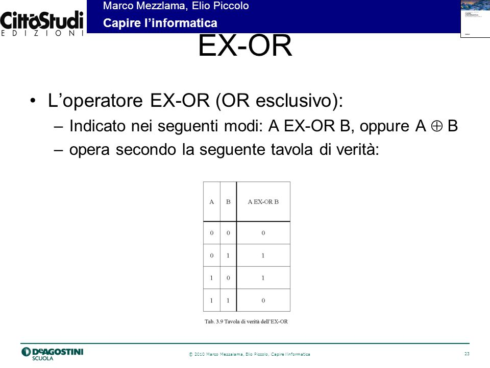EX-OR L'operatore EX-OR (OR esclusivo):
