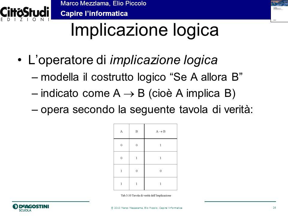Implicazione logica L'operatore di implicazione logica