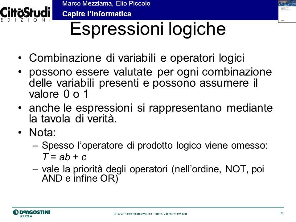 Espressioni logiche Combinazione di variabili e operatori logici