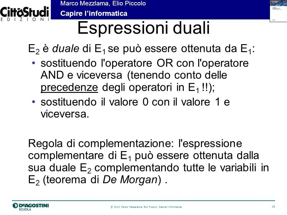 Espressioni duali E2 è duale di E1 se può essere ottenuta da E1: