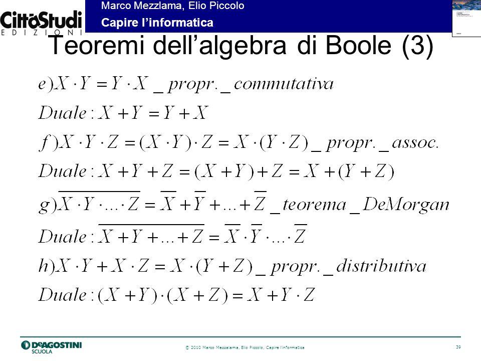 Teoremi dell'algebra di Boole (3)