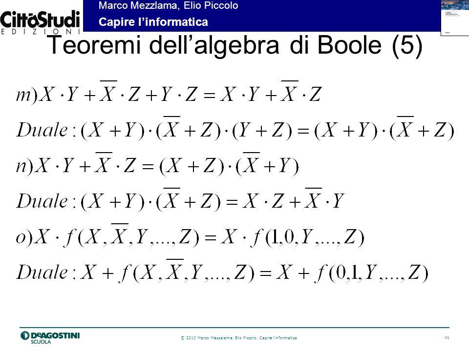 Teoremi dell'algebra di Boole (5)