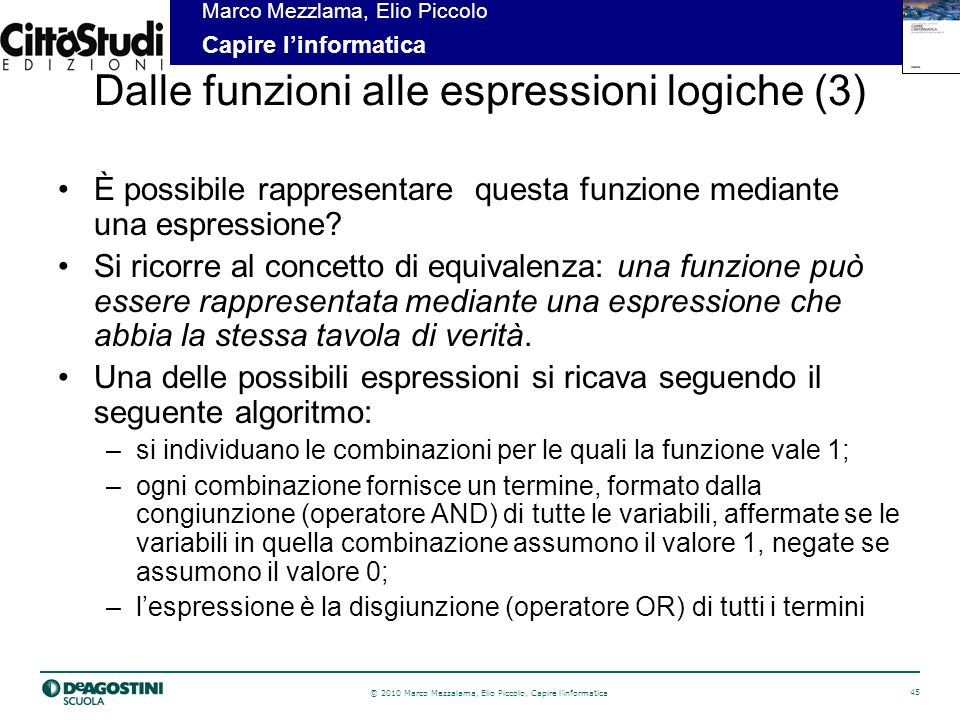 Dalle funzioni alle espressioni logiche (3)
