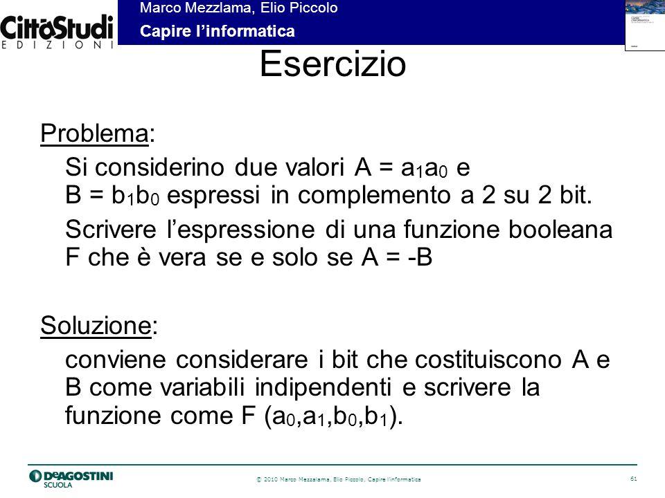 Esercizio Problema: Si considerino due valori A = a1a0 e B = b1b0 espressi in complemento a 2 su 2 bit.
