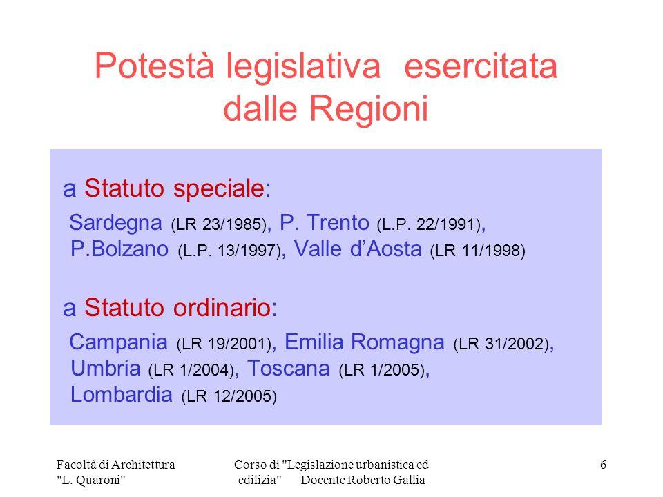 Potestà legislativa esercitata dalle Regioni