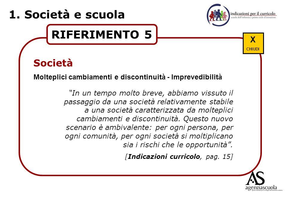 1. Società e scuola RIFERIMENTO 5 Società Scuola