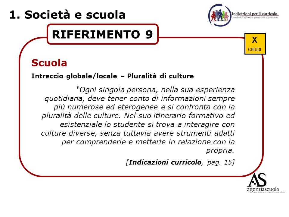 1. Società e scuola RIFERIMENTO 9 Scuola X