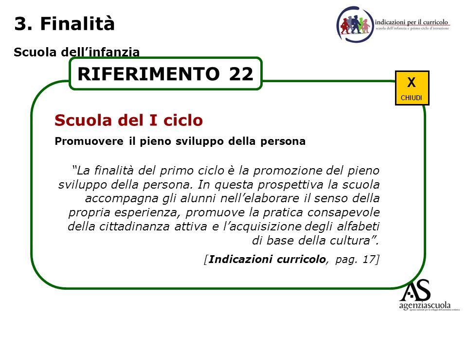 3. Finalità RIFERIMENTO 22 Scuola