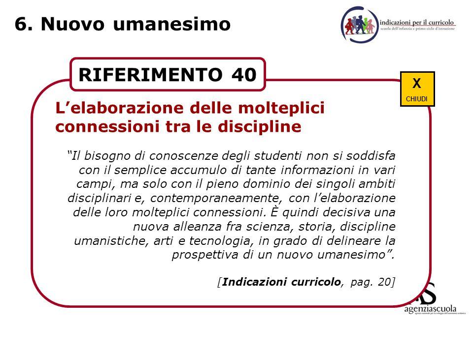 6. Nuovo umanesimo RIFERIMENTO 40 Scuola