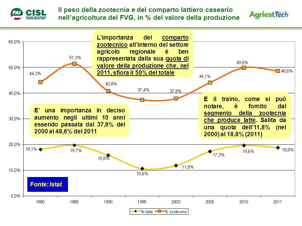 Il peso della zootecnia e del comparto lattiero caseario nell'agricoltura del FVG, in % del valore della produzione