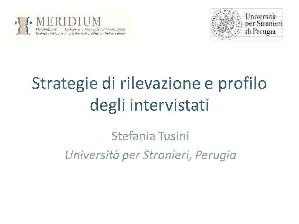 Strategie di rilevazione e profilo degli intervistati