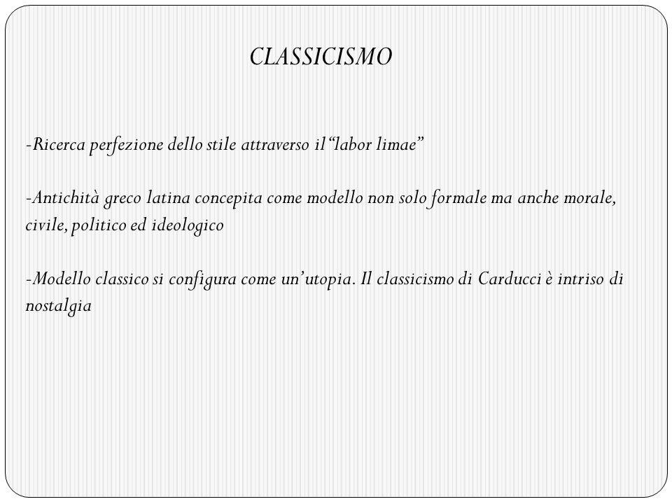 CLASSICISMO Ricerca perfezione dello stile attraverso il labor limae