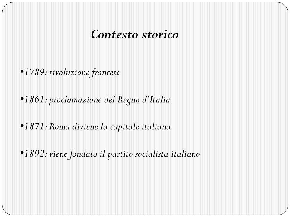 Contesto storico 1789: rivoluzione francese. 1861: proclamazione del Regno d'Italia. 1871: Roma diviene la capitale italiana.