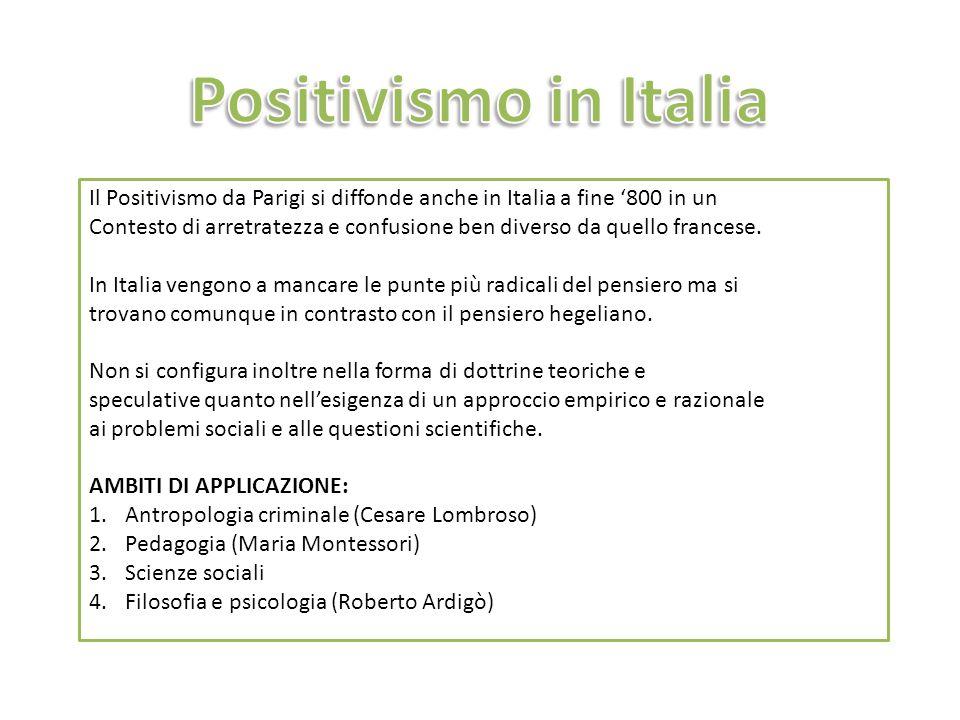 Positivismo in Italia Il Positivismo da Parigi si diffonde anche in Italia a fine '800 in un.
