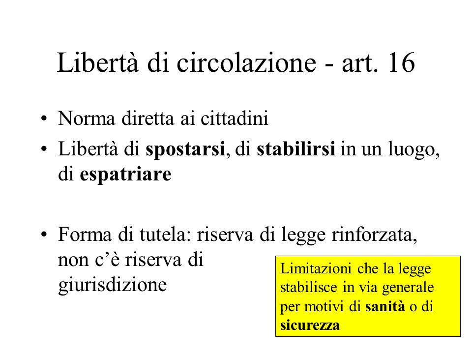 Libertà di circolazione - art. 16