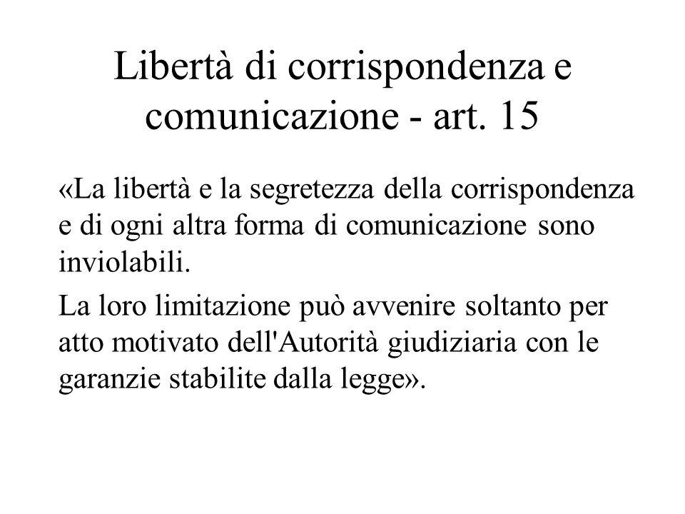 Libertà di corrispondenza e comunicazione - art. 15