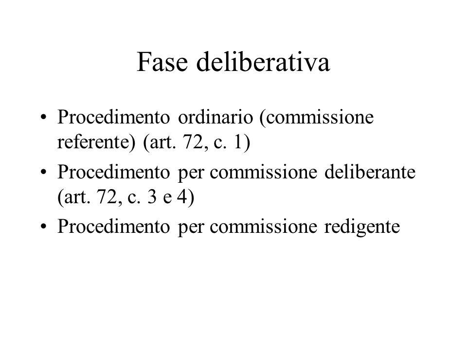 Fase deliberativa Procedimento ordinario (commissione referente) (art. 72, c. 1) Procedimento per commissione deliberante (art. 72, c. 3 e 4)