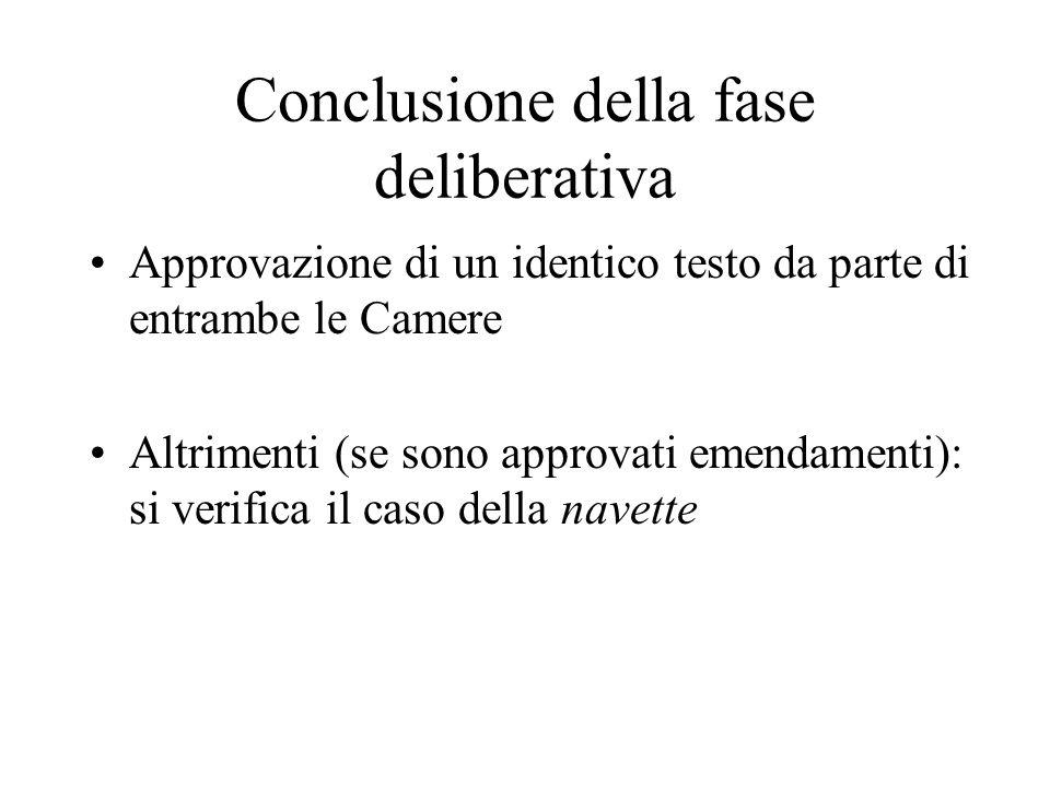 Conclusione della fase deliberativa