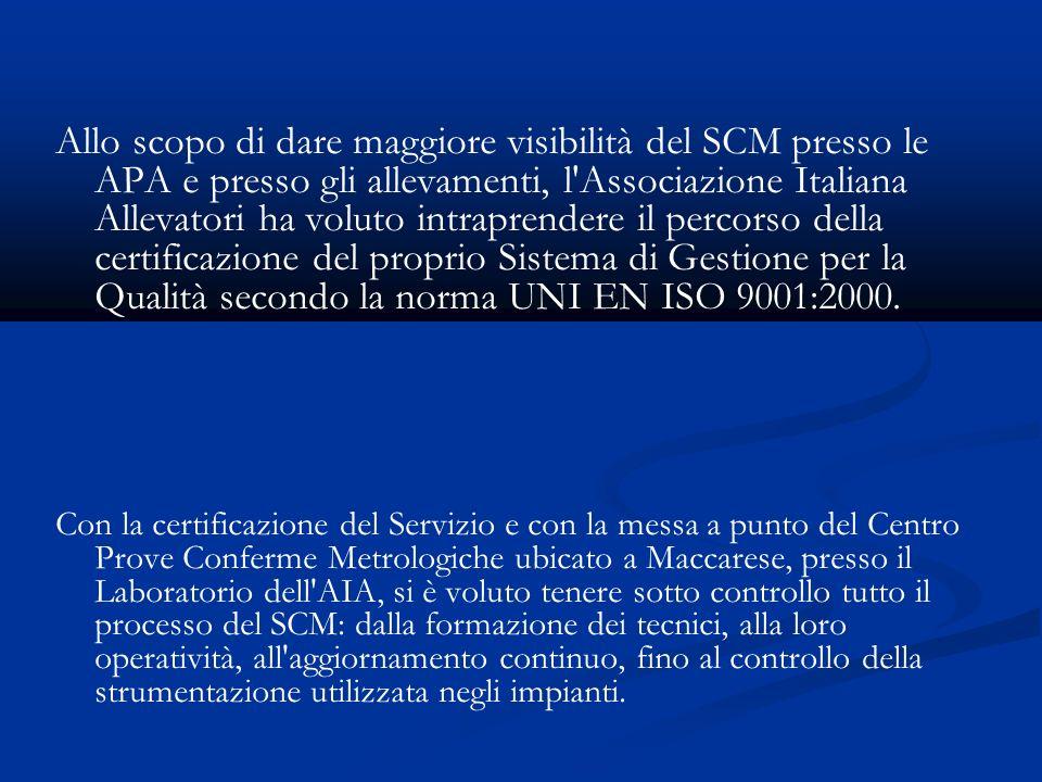 Allo scopo di dare maggiore visibilità del SCM presso le APA e presso gli allevamenti, l Associazione Italiana Allevatori ha voluto intraprendere il percorso della certificazione del proprio Sistema di Gestione per la Qualità secondo la norma UNI EN ISO 9001:2000.