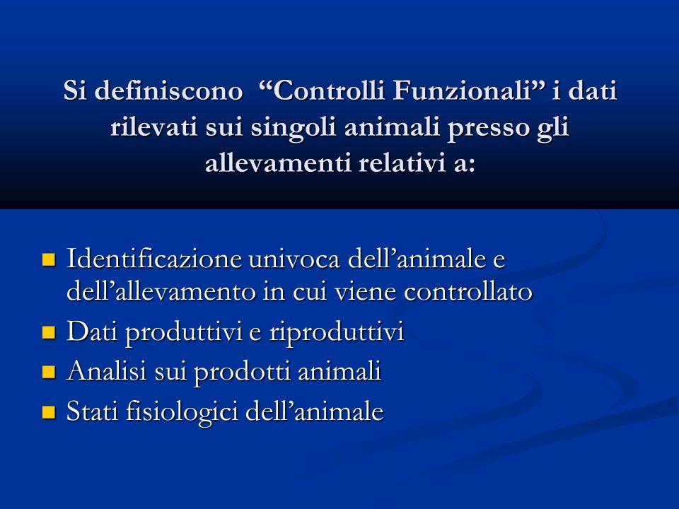 Si definiscono Controlli Funzionali i dati rilevati sui singoli animali presso gli allevamenti relativi a: