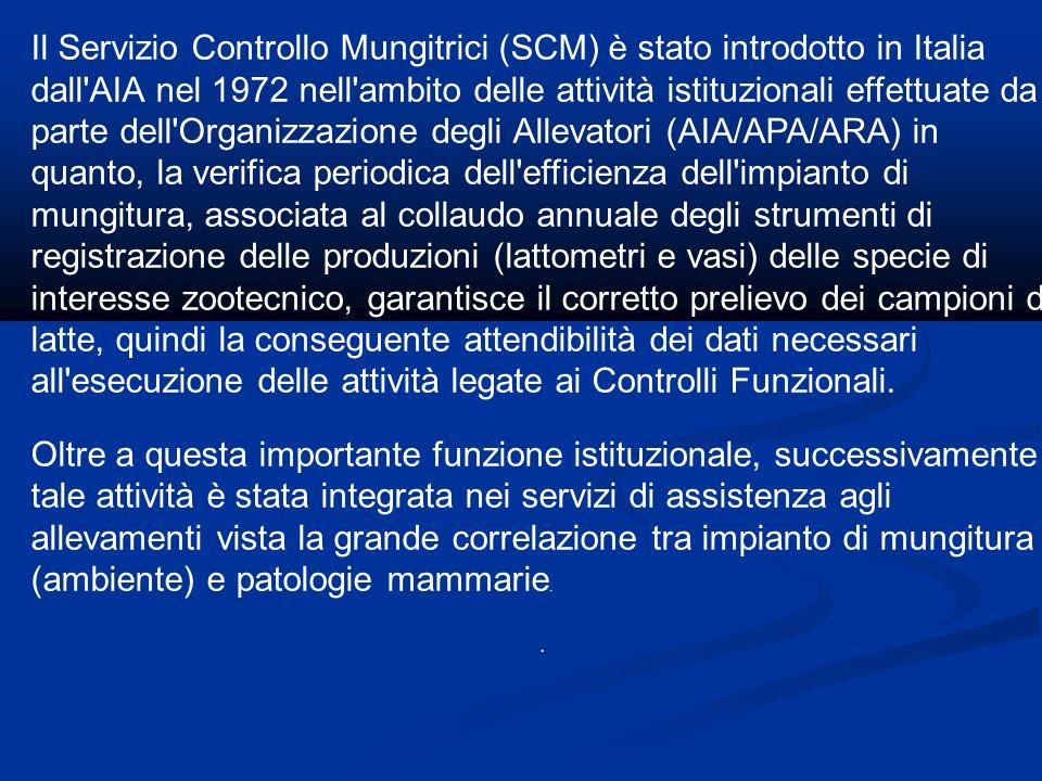 Il Servizio Controllo Mungitrici (SCM) è stato introdotto in Italia dall AIA nel 1972 nell ambito delle attività istituzionali effettuate da parte dell Organizzazione degli Allevatori (AIA/APA/ARA) in quanto, la verifica periodica dell efficienza dell impianto di mungitura, associata al collaudo annuale degli strumenti di registrazione delle produzioni (lattometri e vasi) delle specie di interesse zootecnico, garantisce il corretto prelievo dei campioni di latte, quindi la conseguente attendibilità dei dati necessari all esecuzione delle attività legate ai Controlli Funzionali.