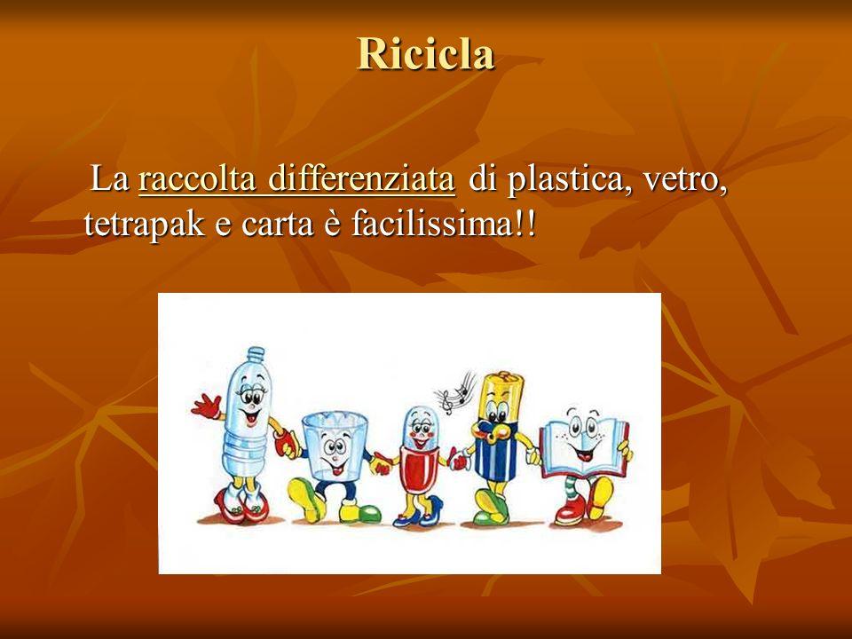 Ricicla La raccolta differenziata di plastica, vetro, tetrapak e carta è facilissima!!