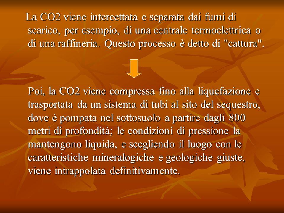 La CO2 viene intercettata e separata dai fumi di scarico, per esempio, di una centrale termoelettrica o di una raffineria. Questo processo è detto di cattura .