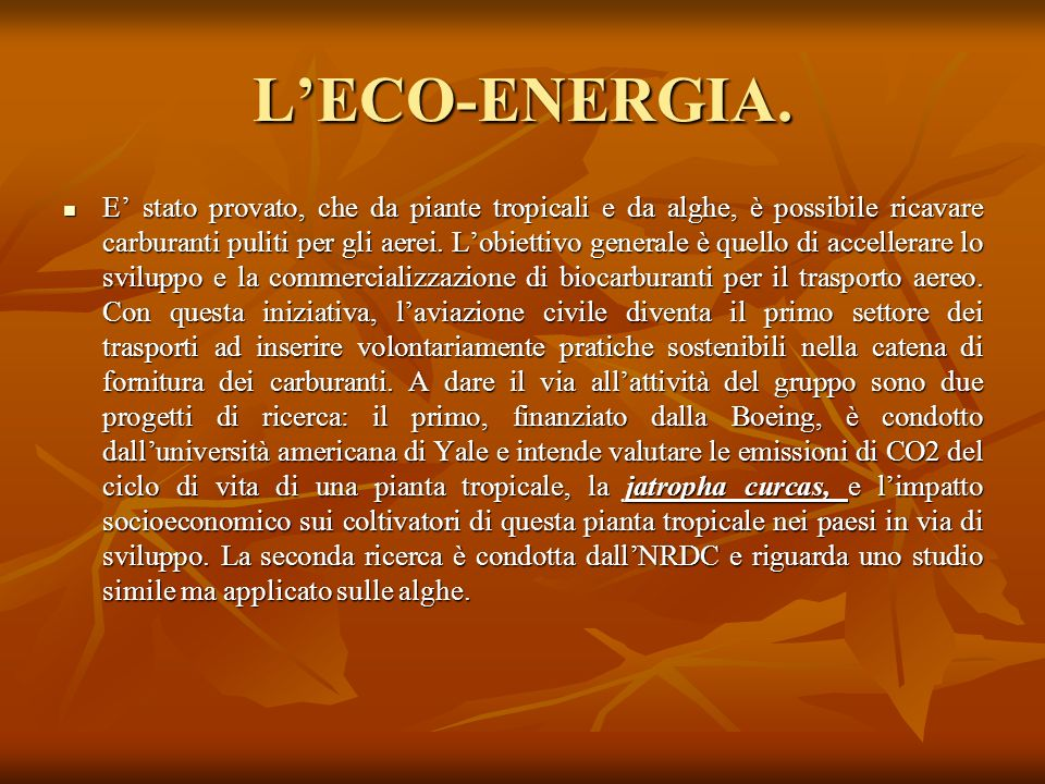 L'ECO-ENERGIA.