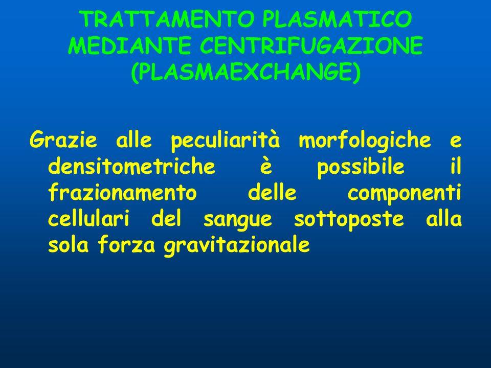 TRATTAMENTO PLASMATICO MEDIANTE CENTRIFUGAZIONE (PLASMAEXCHANGE)