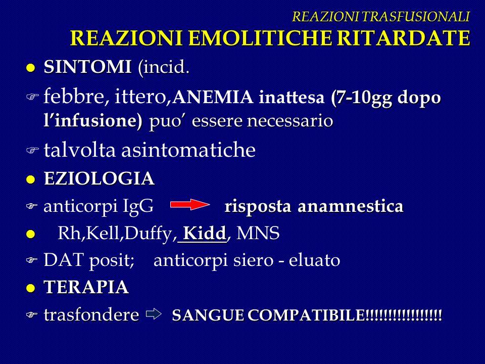 REAZIONI TRASFUSIONALI REAZIONI EMOLITICHE RITARDATE