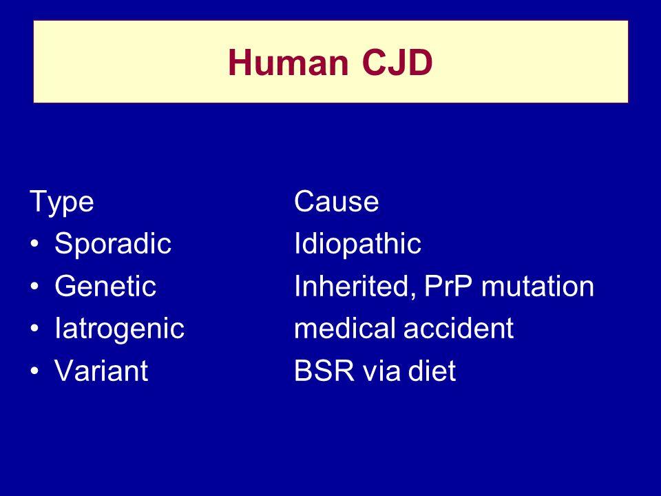 Human CJD Type Cause Sporadic Idiopathic