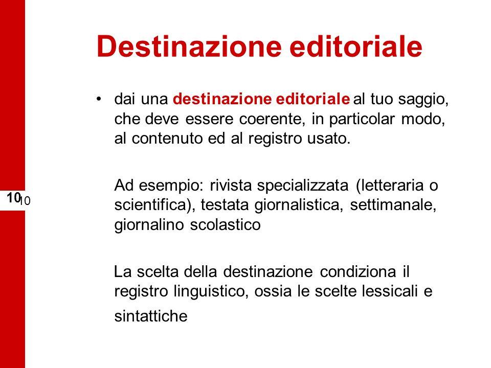 Destinazione editoriale