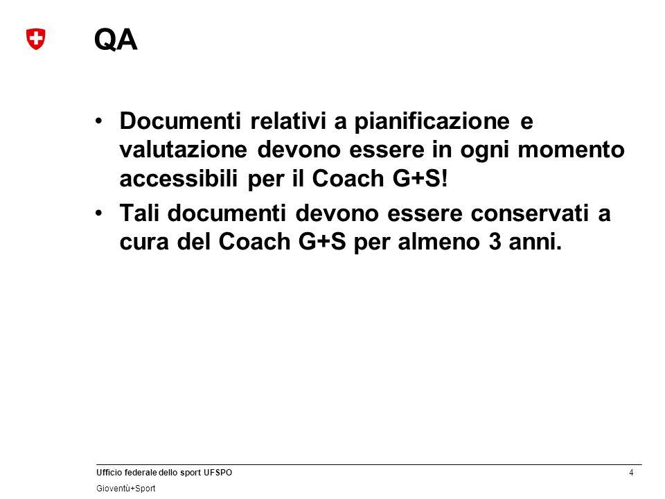 QA Documenti relativi a pianificazione e valutazione devono essere in ogni momento accessibili per il Coach G+S!