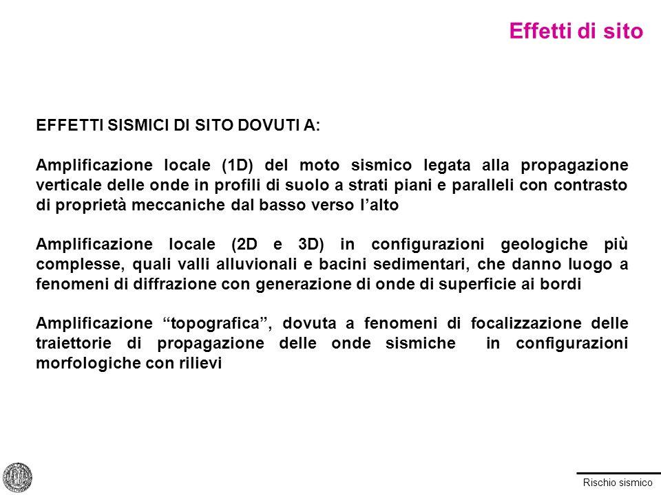 Effetti di sito EFFETTI SISMICI DI SITO DOVUTI A: