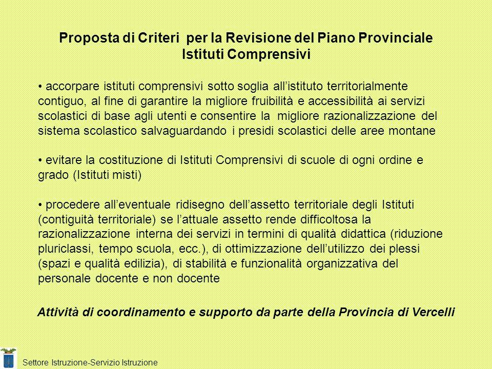 Proposta di Criteri per la Revisione del Piano Provinciale Istituti Comprensivi