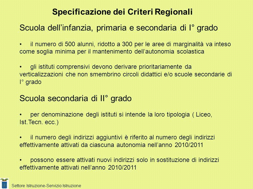 Specificazione dei Criteri Regionali