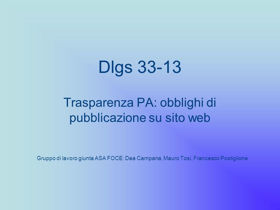 Trasparenza PA: obblighi di pubblicazione su sito web