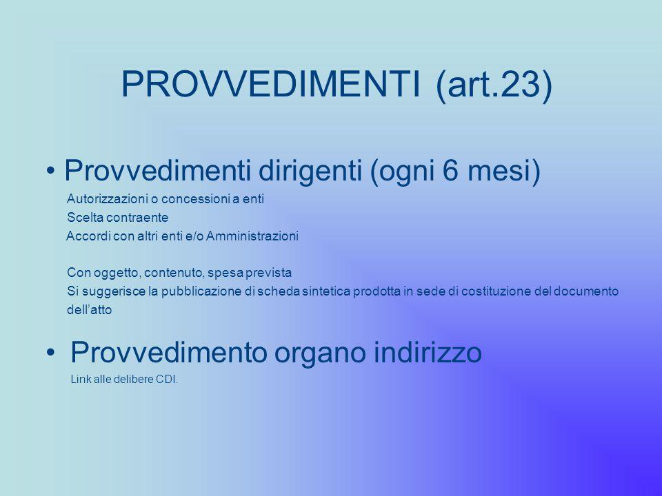 PROVVEDIMENTI (art.23) Provvedimenti dirigenti (ogni 6 mesi)