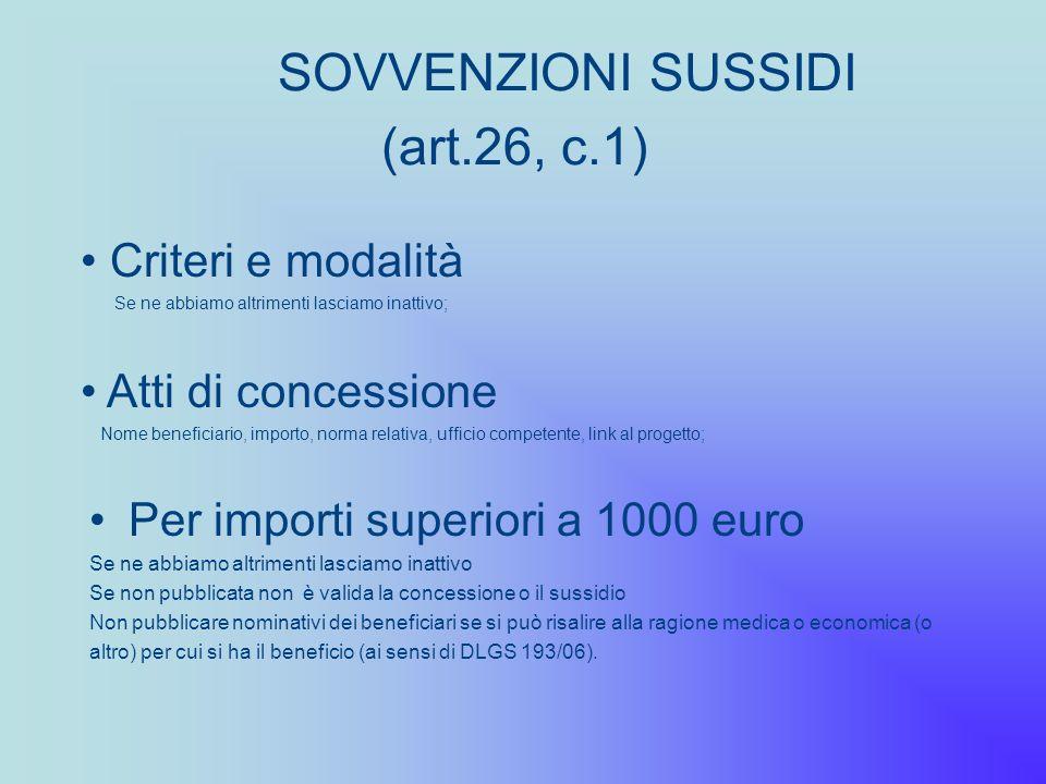 SOVVENZIONI SUSSIDI (art.26, c.1)