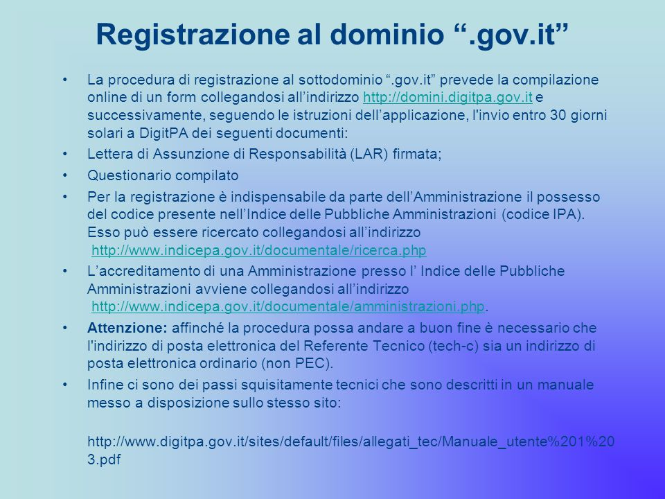 Registrazione al dominio .gov.it