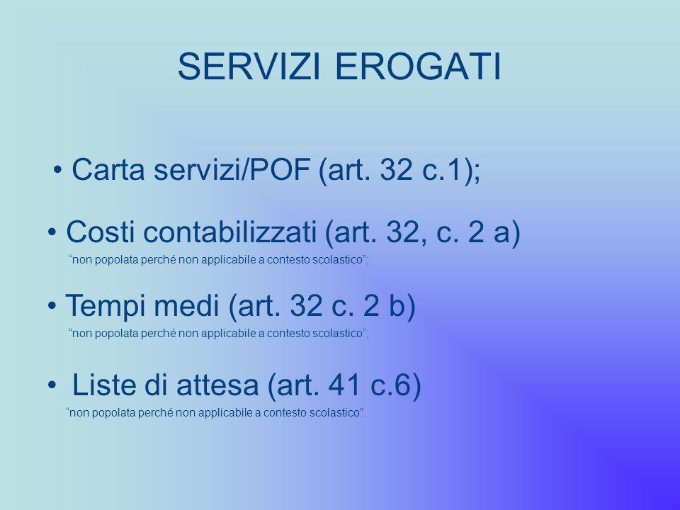SERVIZI EROGATI Carta servizi/POF (art. 32 c.1);