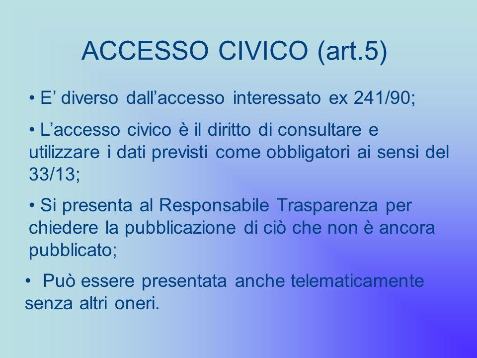 ACCESSO CIVICO (art.5) E' diverso dall'accesso interessato ex 241/90;