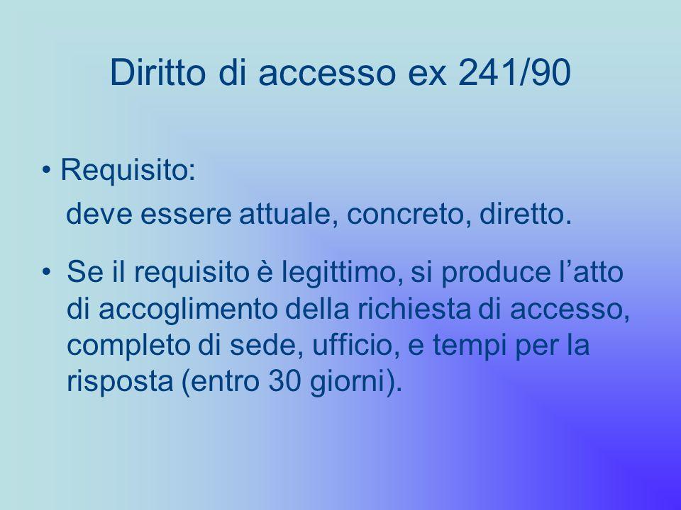 Diritto di accesso ex 241/90 Requisito: