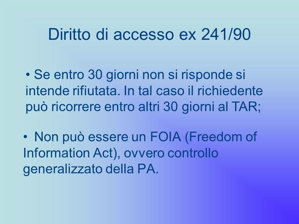Diritto di accesso ex 241/90