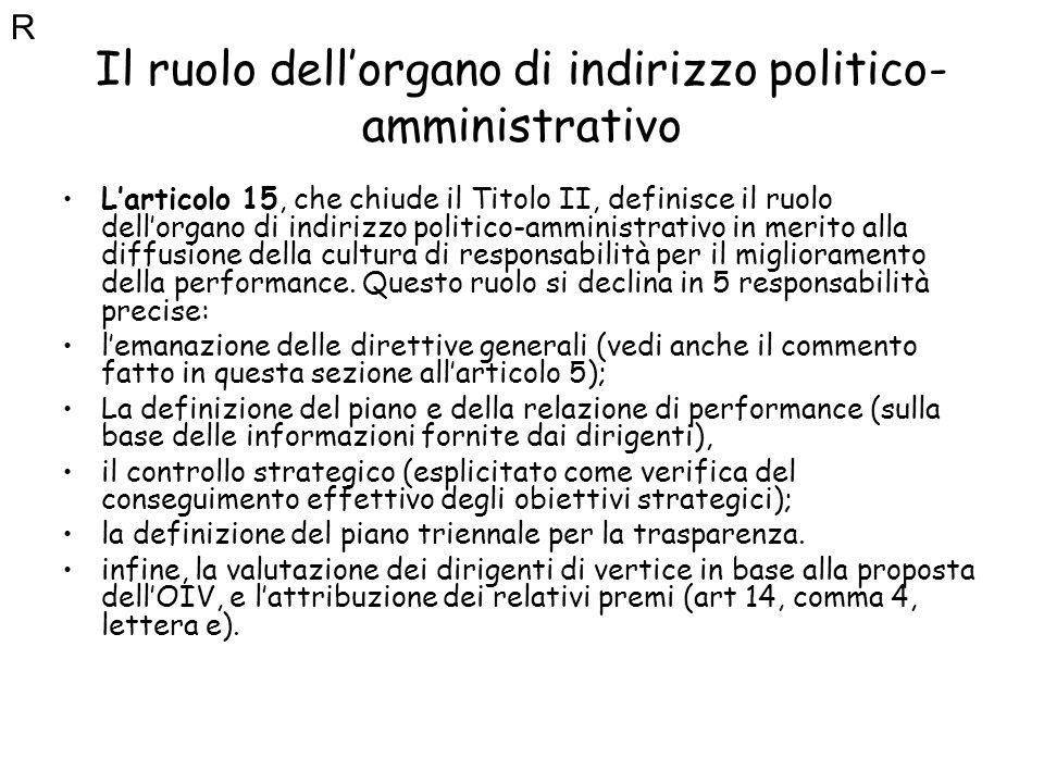 Il ruolo dell'organo di indirizzo politico-amministrativo